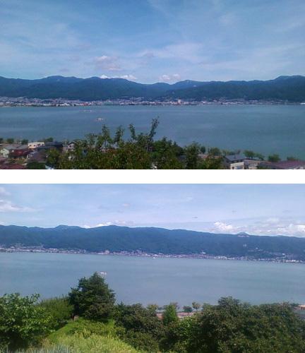 火燈山からのぞむ諏訪湖。(2012年8月29日のりくん撮影)