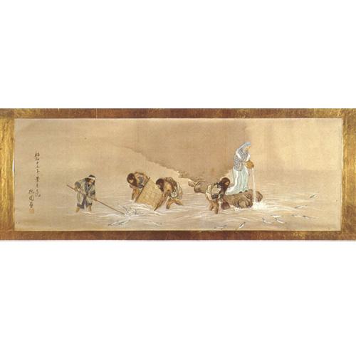 姥神大神宮蔵「折居婆さんとアイヌの絵」※日本の民話(第01巻北海道)研秀出版から