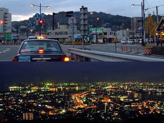 高塔山の全景と山頂からの眺め。地元ではデートスポットの一つ。(2012年12月3日、araya撮影)