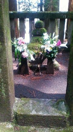 光前寺本堂脇にある早太郎のお墓(2009年4月5日のりくん撮影)