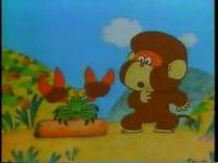 猿とつがねの餅つき
